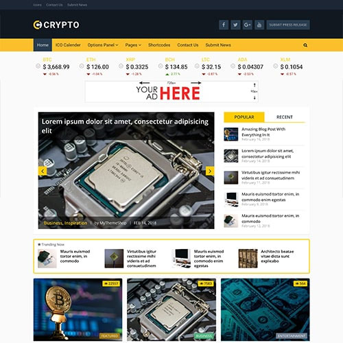 MyThemeShop Crypto Bitcoin & Cryptocurrency WordPress Theme,