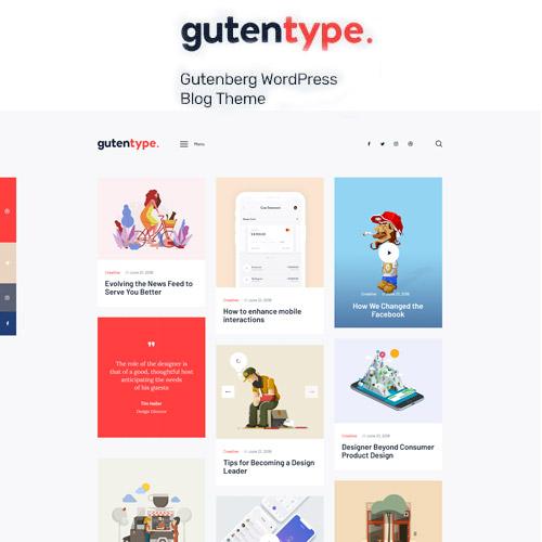 Gutentype 100% Gutenberg WordPress Theme for Modern Blog,