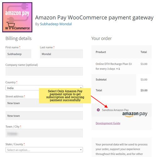 Amazon Pay WooCommerce payment gateway